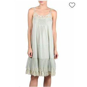 Anthropologie Ryu slip lace dress in sage green